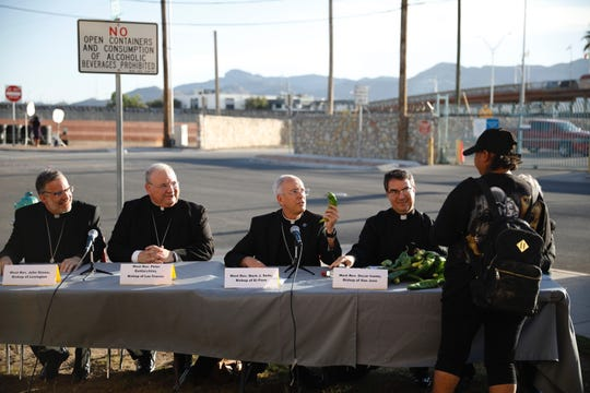 Bishops with the U.S. Conference of Catholic Bishops gathered in El Paso to witness the plight and challenges migrants face on their way to the U.S. in observance of the Vatican's World Day of Migrants and Refugees, which is on Sunday. They are shown at a news conference Wednesday, Sept. 25, 2019.