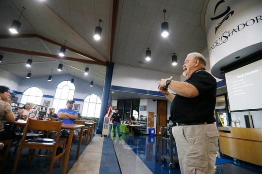 Ron Livermore, emergency operations, gives a presentation during the Ysleta school district active shooter training Wednesday, Sept. 25, at Del Valle High School in El Paso. YISD is hosting a series of active shooter trainings over the course of the next month.