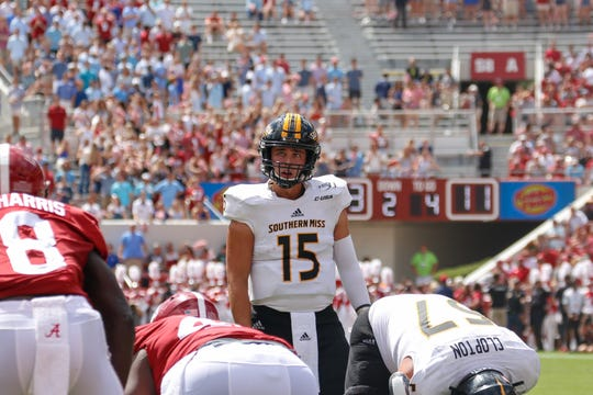 Southern Miss quarterback Jack Abraham calls a play last Saturday against Alabama