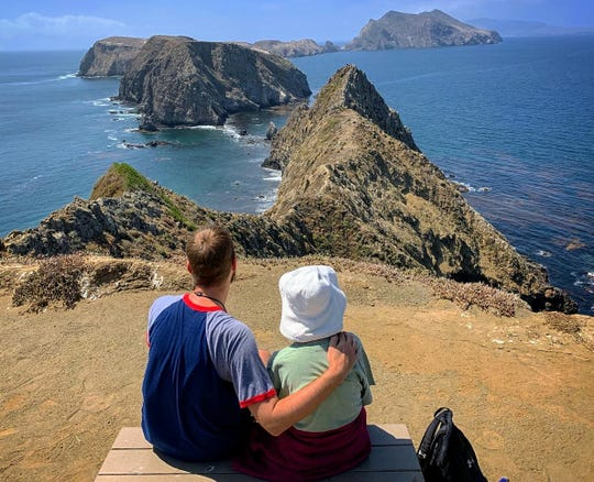 Joy and Brad Ryan savor a quiet moment on Anacapa Island. Grandson Brad is determined to take his grandmother to all 61 National Parks.