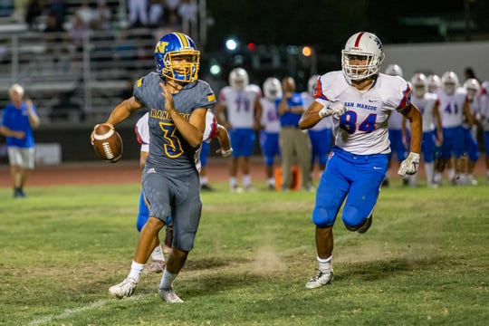 Leeram Stoneman has been a dual threat at quarterback for Nordhoff High, passing for 1,021 yards and 10 touchdowns and rushing for 187 yards and two scores.