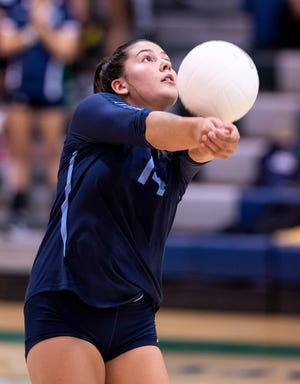 Redwood's Madison Tamayo plays against El Diamante in girls volleyball on Wednesday, September 25, 2019.