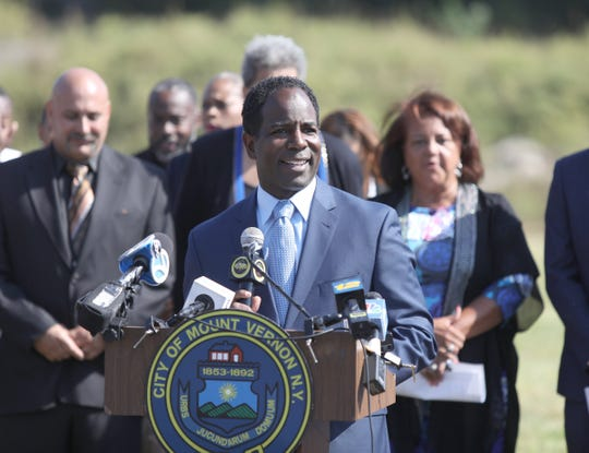 Acting Mayor Andre Wallace addresses the press during a ground breaking ceremony to begin the clean up of Memorial field in Mount Vernon on Thursday, September 26, 2019.