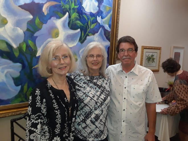 September winners of the Wichita Falls Poetry Society monthly contest are, left to right,  left to right: Contest winners Lynn Hoggard (second place), Sheri Sutton (first place), and Mark Sutton (third place).