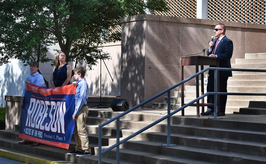 Joseph Robeson speaks on the steps of the Wichita County Courthouse Thursday as he announces he is a candidate for Justice of the Peace Precinct 1, Place 1.