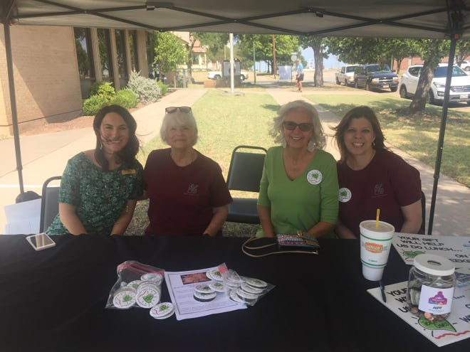 Senior-Junior Forum members helped with collecting donations at The Kitchen-Meals on Wheels Wichita Falls for Texoma Gives Day. Pictured, left to right, Samantha Beard, Connie Joyce, Lydia McWhorter and Stacey Smith.