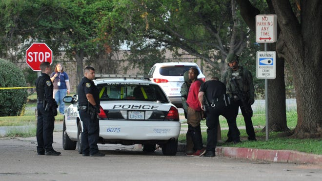Wichita Falls police arrest Drew Wesley, 23, after he allegedly fired a weapon early Thursday morning in an apartment building located in the 900 block of Denver St.