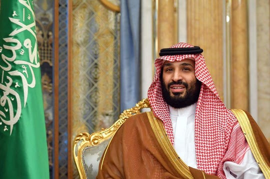 Saudi Arabia's Crown Prince Mohammed bin Salman attends a meeting with the US secretary of state in Jeddah, Saudi Arabia, on September 18, 2019. (Photo by MANDEL NGAN / POOL / AFP)