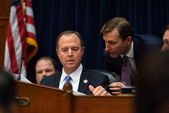 House Intelligence Committee Chairman Adam Schiff, D-Calif., prepares to open a Sept. 26 hearing where Joseph Maguire, acting director of national Intelligence, was scheduled to testify about his decision to not share a whistleblower complaint in front of the House Select Committee on Intelligence.