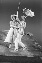 "Julie Andrews dances with co-star Dick Van Dyke for the new movie ""Mary Poppins"" on June 25, 1963."