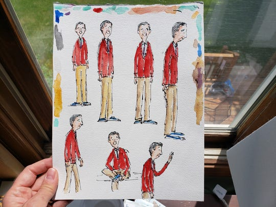 Mister Rogers sketches by Matthew Cordell.