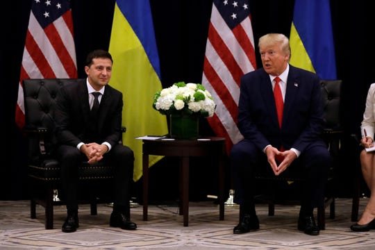 President Donald Trump meets with Ukrainian President Volodymyr Zelensky at the InterContinental hotel during the United Nations General Assembly on Sept. 25.