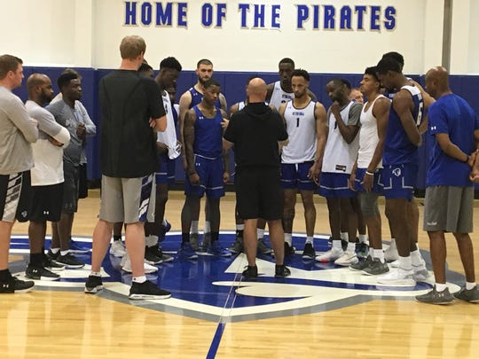 Seton Hall basketball coach Kevin Willard addresses his team after Thursday's practice.