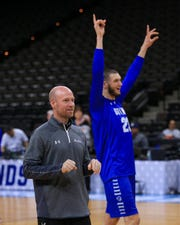 Sandro Mamukelashvili (23) reacts after head coach Kevin Willard made a shot during practice day before the first round of the 2019 NCAA Tournament.
