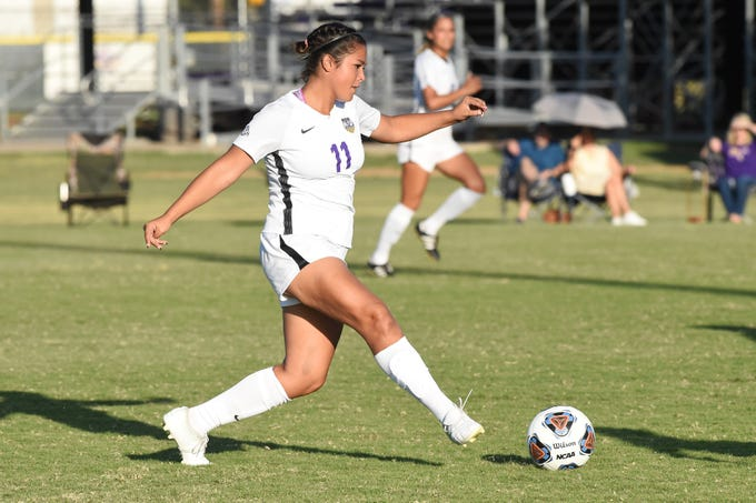 HSU's Avery Lara (11) sends a pass through against Louisiana College at the HSU Soccer Complex on Thursday, Sept. 26, 2019. The Cowgirls won 10-0.