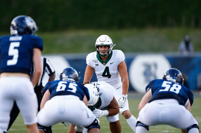 Baylor linebacker Clay Johnston (4), shown here lining up against Rice earlier this season, had a game-high 10 tackles last week before suffering a season-ending injury.