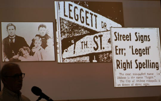 Jay Moore talked Thursday about how gracious the Legett family was after seeing their misspelled on Abilene street signs, never asking for a do-over. Moore spoke at an Abilene Preservation League dinner at Episcopal Church of the Heavenly Rest.