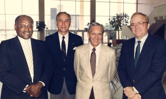 Louis Kelley, left, joined four other Abilene sports legends in the first Abilene ISD hall of fame class in 1988. With Kelley are, from left, Abilene High standout Glynn Gregory, three-time state champion coach Chuck Moser and Cooper High star Jack Mildred. Also inducted that year was the late Pete Shotwell.
