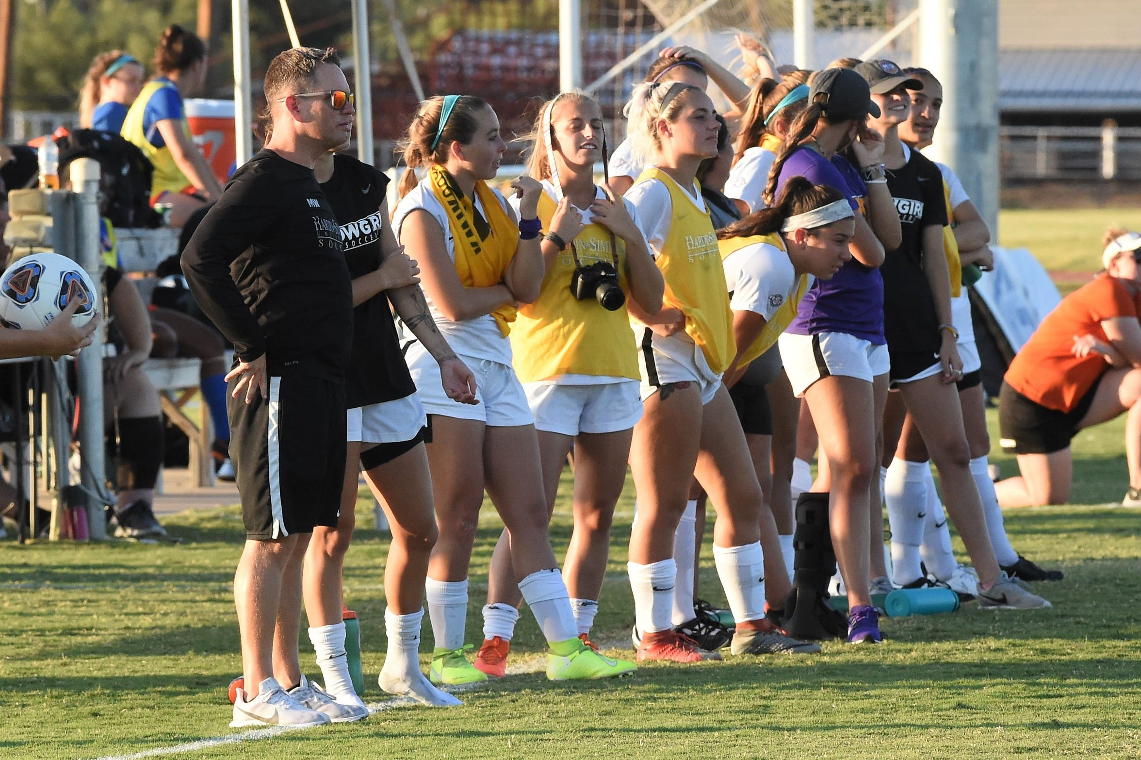 HSU head coach Marcus Wood stands on the sideline against Louisiana College at the HSU Soccer Complex on Thursday, Sept. 26, 2019. The Cowgirls won 10-0.
