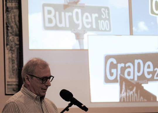 Even Jay Moore can't help but crack a smile at city of Abilene street signs that pop descenders in the name. Moore spoke Thursday at an Abilene Preservation League dinner.