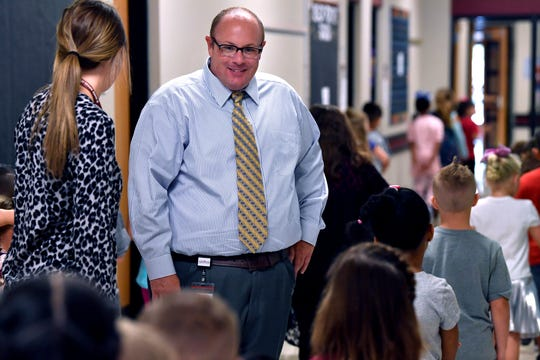 With a watchful eye, Bowie Elementary Assistant Principal Clay Johnson oversees students at the school.