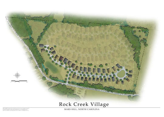 A rendering shows the first phase of construction planned for the Rock Creek Village development in Mars Hill.
