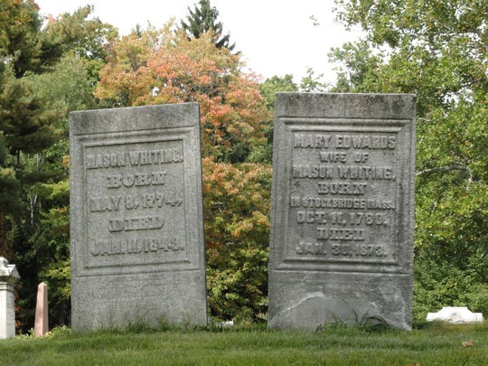 The early 1800s headstones of the Whiting family of Binghamton in Spring Forest Cemetery.