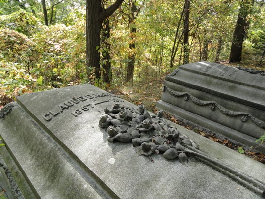 The above-ground crypts of the Morris family in Spring Forest Cemetery.