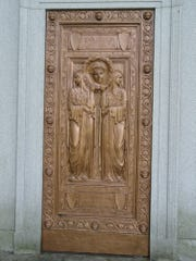 The beautiful doors of the Sisson-Chittendon mausoleum in Spring Forest Cemetery.