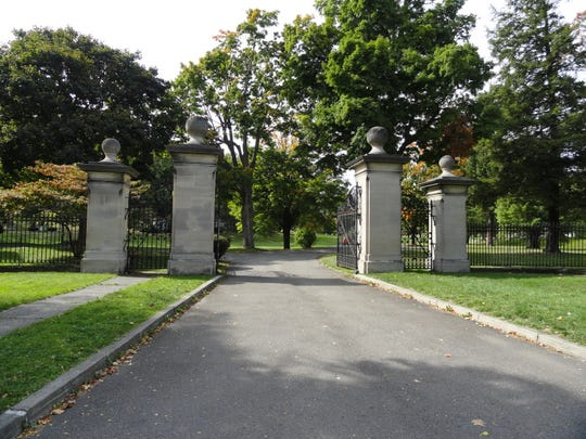 The gates of Spring Forest Cemetery in Binghamton, showing proper care.