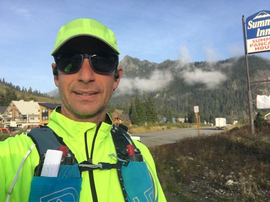 Bainbridge Islander Mike Cyger before he heads out on the leg of his journey that ran from Snoqualmie Pass to Cle Elum.