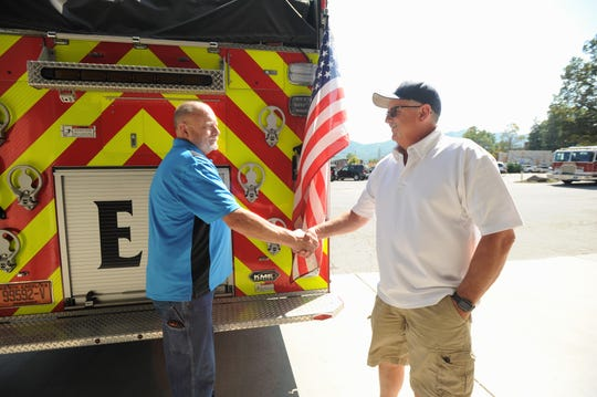 Retired Black Mountain Fire Chiefs Gary Bartlett, left, and Steve Jones, will speak on Oct. 12, when the department celebrates 100 years of service with a festival and parade.