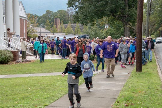 """Hundreds of community members prepare to """"Walk for Hunger Relief"""" at First Baptist Church of Black Mountain, in 2018. The annual event, which supports the food pantry at Swannanoa Valley Christian Ministry, will return on Oct. 13."""