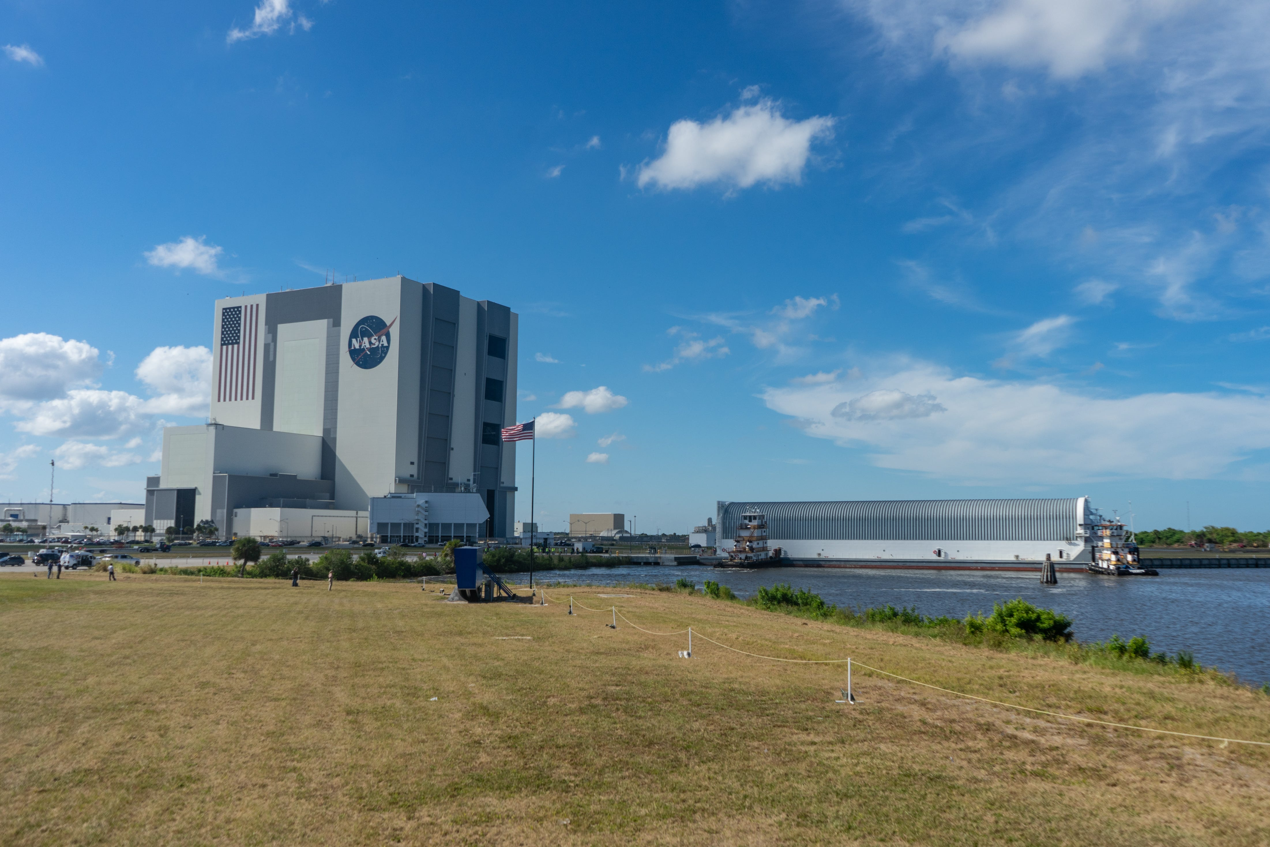 Photos: Pegasus barge arrives at KSC with Space Launch System hardware