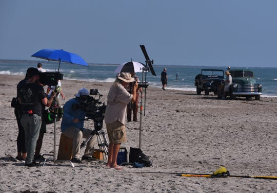 "The production crew for ""The Right Stuff"" films a scene at the beach near Lori Wilson Park in Cocoa Beach."