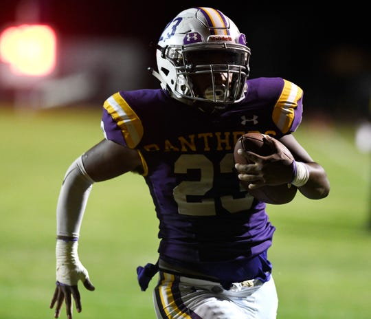 Aransas Pass' Adrian Davila runs for a touchdown at the game against Bishop, Thursday, Sept. 26, 2019, in Aransas Pass. Davila scored a touchdown.