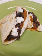 Pumpkin Black Bean Quesadillas with goat cheese at Tortilla Press in Collingswood.