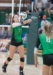Huntington's Alyssa Steele hits a ball during a 3-2 win over Zane Trace at Huntington High School on Thursday, Sept. 27, 2019.