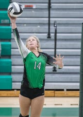 Sophomore Allison Basye returns a shot to Zane Trace during the Huntington High School girls volleyball game on Thursday, Sept. 27, 2019. Huntington defeated Zane Trace 3-2.