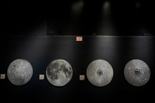 A New Moon Rises is a traveling photography exhibition from the Smithsonian on display at the Cincinnati Museum Center. It features large-scale photographs from the Lunar Reconnaissance Orbiter Cameras of the lunar surface from 2009 to 2015. The LROC is still gathering photos and visitors can view its current location on a monitor in the exhibit. In one of the photos, visitors can even see the trail of footsteps from the Apollo 11 astrounauts.