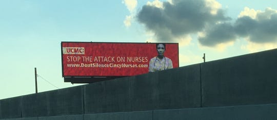 The electronic billboard at the Martin Luther King Jr. Boulevard exit from southbound Interstate 71 in Avondale features a message from the Ohio Nurses Association on behalf of nurses at University of Cincinnati Medical Center, which is just off the exit.
