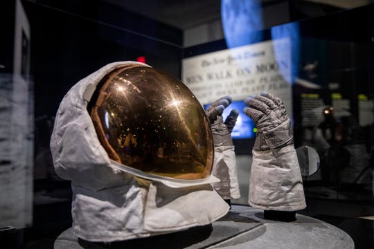Buzz Aldrin's extravehicular visor and gloves that he wore while on the surface of the Moon are on display at the Cincinnati Museum Center as part of the Destination Moon: The Apollo 11 Mission exhibit, which opens Saturday, September 28.