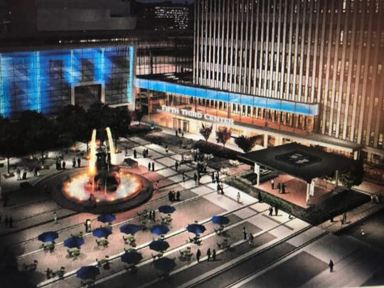 An artist's rendering of Fifth Third Bank's proposed overhaul of its Fountain Square headquarters, including a new performance stage on the square