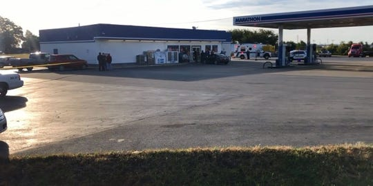 Adams County Sheriff's Office officials say the shooting happened at the Marathon gas station on the corner of State Route 32 and Main Street Friday morning.
