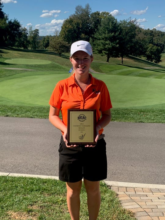 Ryle senior Caitlyn Richardson poses after winning the NKAC tournament.