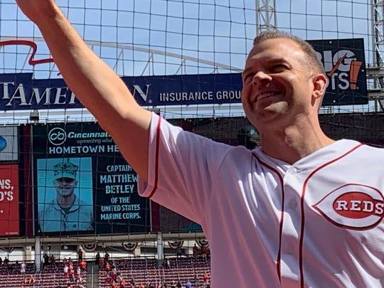 Matt Betley, a Cincinnati native, was honored as a Reds Hometown Hero.