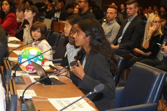 Janani Shivakumar spoke about her peace project during the United Nations Department of Global Communications' annual Student Observance for the International Day of Peace at UN headquarters in New York City last week.
