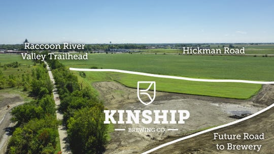 An aerial view of where Kinship Brewing Company is hoping to construct at alongside the Raccoon River Valley Trail.