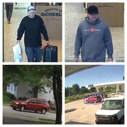 Photos shown Sept. 27, 2019 depict the potential suspect and getaway vehicle associated with several car burglaries in the Des Moines metro recently.