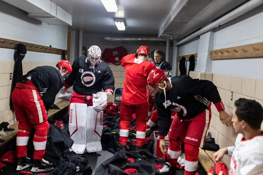 Detroit Red Wings Players Dress Up Before Training on Thursday, September 26, 2019 at the Calumet Coliseum in Calumet, Michigan The Coliseum, built in 1913 and the oldest continuously used indoor ice arena in the world, hosts The NHL's preseason game between the Red Wings in Detroit and the St. Louis Blues on Thursday night.